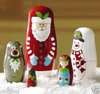 (Al2) Father Christmas & Friends Russian Dolls Set Gltc - New & Boxed- Lovely