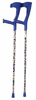 Deluxe Patterned Forearm Crutches (pair) (Blue Design Blue Multi-pattern Body)