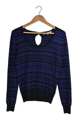 Review Black Purple Striped Long Sleeve Knit Top Jumper Size 10
