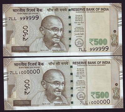 India Rs.500 Banknotes, Solid Fancy Number : 999999 & 1000000 (Seven Digit), Unc