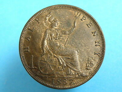 1887 Queen Victoria - HALFPENNY COIN - Younger  Head - Higher Grade with Lustre