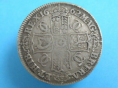1662 KING CHARLES II - SILVER CROWN COIN - FIRST BUST ROSE BELOW - High Value