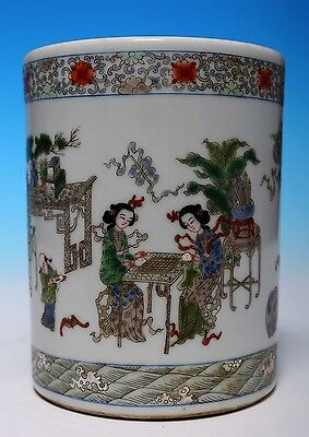 Elegant Old Chinese Famille Rose Porcelain Brush Pot Collection WJ659