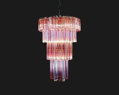 Murano big chandelier in the manner of Venini – 110 traparent/pink prism triedri