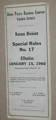***vintage 1966 Union Pacific Railroad Kansas Division Special Rules Booklet***