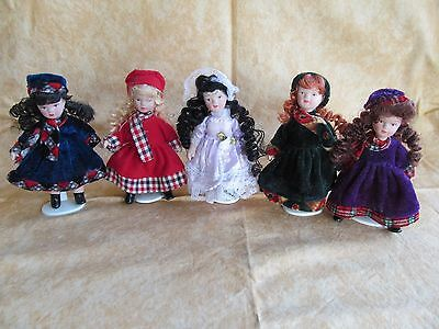5 Miniature Porcelain Dolls