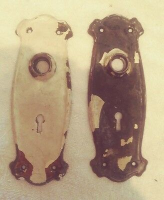 pair of old antique chippy paint door back plates