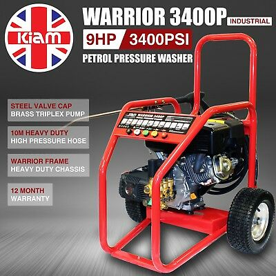 Kiam Warrior 3400P Commercial Petrol Pressure Washer Jet Cleaner 3400PSI 235 Bar