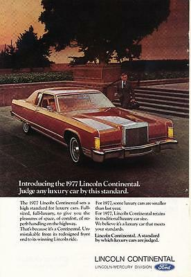 Vintage Magazine Ad - 1977 - Lincoln Continental