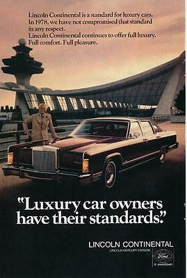 Vintage Magazine Ad - 1978 - Lincoln Continental