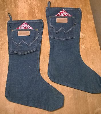 Pair of Wrangler Denim Western Christmas Stockings With Red Pocket Squares
