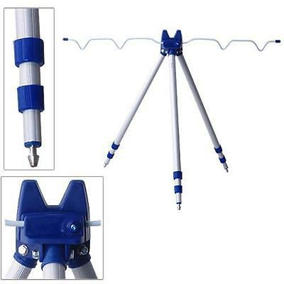 Aluminium telescopic tripod supports up to 5 rods beach fishing