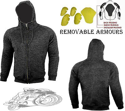 Grey Speed Max Mens Fleece Hoodie Removable Armour Motorbike / Motorcycle Jacket