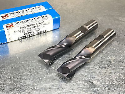 "(Lot of 2) Niagara 17/32"" HSS End Mill, 2 Flute, TiALN Coated, N67095"