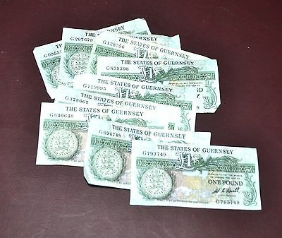 Lot of 9 State of Guernsey 1 Pound Bank Notes