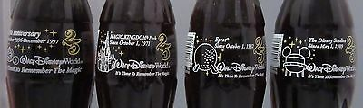Set of 4 Coca-Cola Bottles 8oz Walt Disney World 25 Years 1997