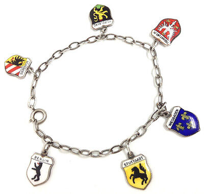 "Antique German Travel Shields Charm Bracelet 800 REU 7 1/4"" 8.5grams"