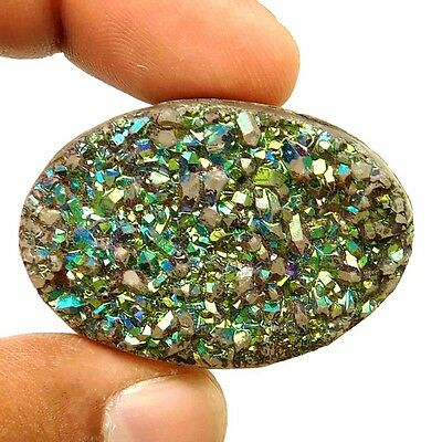 103 cts Natural Beautiful Druzy Agate Color Treated Gemstone Oval Loose Cabochon