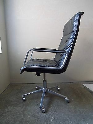 Mid Century Scandinavian Leather and Alloy Office Chair