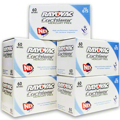 300 Rayovac Mercury Free Cochlear Implant Batteries,  FREE USA SHIPING!