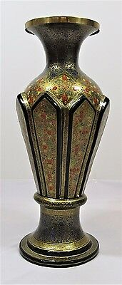 Flower Vase Vintage Kashmir Paper Mache Lacquered Decorative Handmade Primitive