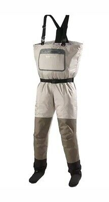 New Field Stream Angler Series Breathable Chest Waders Grey Sz Large (R9SM)