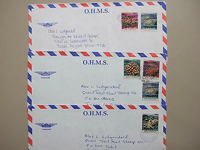 Three Pacific Is covers with OVERPRINT MARINE LIFE stamps