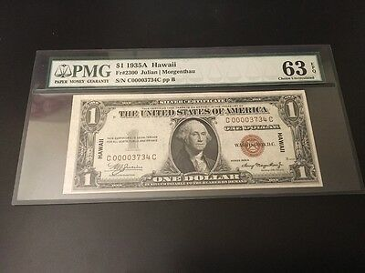 1935A $1 Hawaii Wwii Emergency Silver Certificate Pmg 63 *rare*