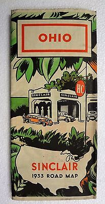 Vintage 1933 SINCLAIR Gasoline Service Station OHIO Road Map