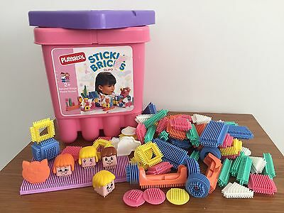 Large Bucket of Stickle Bricks - 70+ Pieces Of Sticklebricks & Storage Tub - VGC