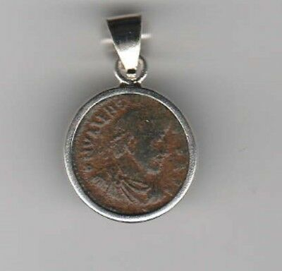 Sterling Silver Ancient Coin Jewelry Pendant Roman Emperor Valens Authentic!