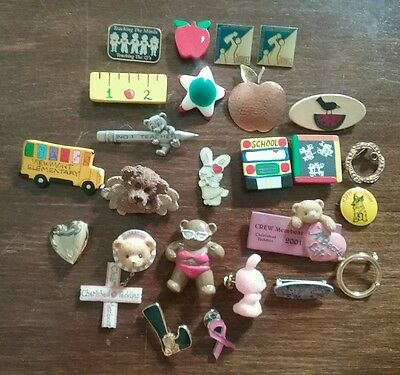 Vintage lot of 25 brooches button covers teacher school bus cherished teddies