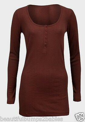 New Look Wine Maternity & Nursing Long Sleeved Ribbed Top Size 8 10 14 New