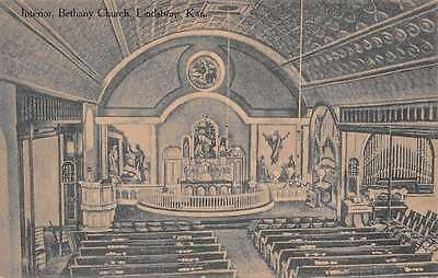 Lindsburg Kansas Bethany Church Interior Antique Postcard K65921