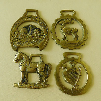 Vintage Brass Horse Harness/Bridle Medallion /Ornament Lot of 4