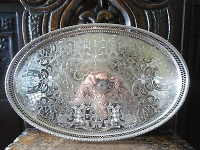 Vintage English Silverplate Gallery Tray