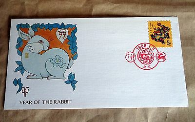 China 1988 Year Of The Dragon Firt Day Cover Rabbit