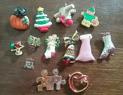 Vintage lot of 13 brooches Christmas stocking bell Halloween pumpkin metal resin