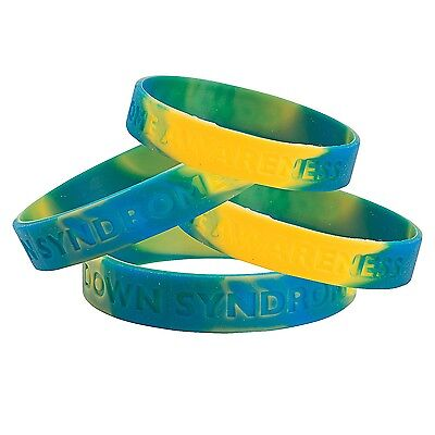 "Down Syndrome Awareness Bracelets (12 Pieces) Rubber 7 1/2"" Circ."