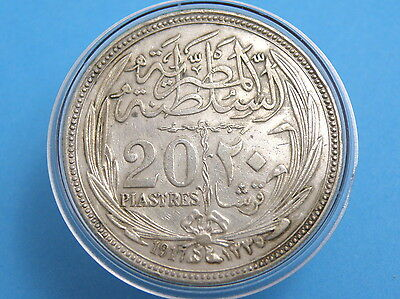 EGYPT - 1917 SILVER TO PIASTRES COIN - Good Grade