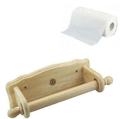 Apollo Toilet Loo Roll Paper Holder Wooden Beech Wood Bathroom Wall Mounted New