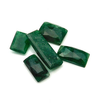38.40 cts Natural Green Aventurine Fancy Both Side Faceted Gemstone 5 pcs lot