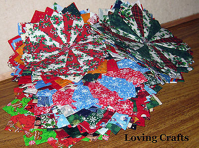 24 Mixed Christmas Dresden Plate Quilt Blocks - Mixed Sizes