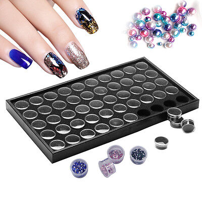 50 Pots Nail Art Manicure Empty Dust Powder Jewelry Box Cases Storage Plate Tool