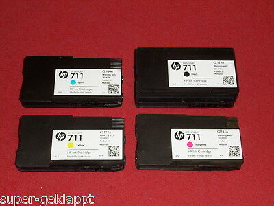 4 leere Original Drucker Patrone HP 711 Black, Cyan, Magenta Yellow leer Virgin