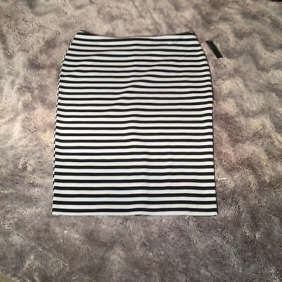 Women's Attention Black & White Striped Pencil Skirt Size: Large New