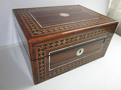 Beautiful Antique Ornate Inlaid Wood & Mother of Pearl Writer's Container Box