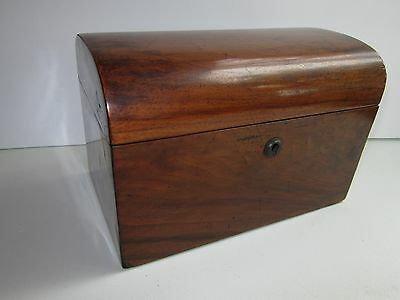 Antique Wooden Two Compartment Velvet Lined Tea Caddy Box