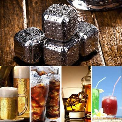 8x Reusable Stainless Steel Whiskey Wine Stones Ice Cubes Square & Tongs