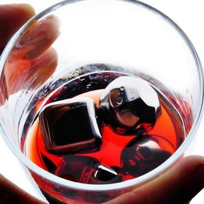 8x Reusable Stainless Steel Whiskey Wine Stones Ice Cubes Ball Shape & Tong